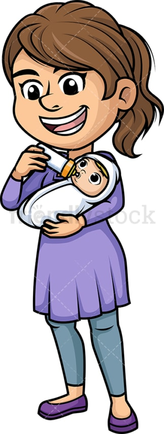 Mother bottle feeding her baby. PNG - JPG and vector EPS (infinitely scalable). Image isolated on transparent background.