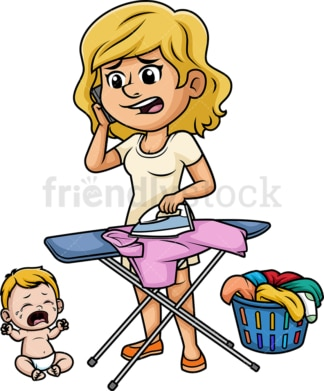 Overwhelmed mom ironing. PNG - JPG and vector EPS (infinitely scalable). Image isolated on transparent background.
