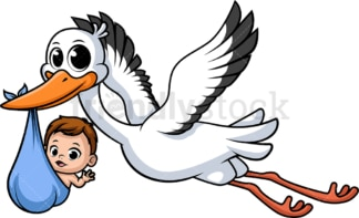 Stork carrying baby. PNG - JPG and vector EPS (infinitely scalable).