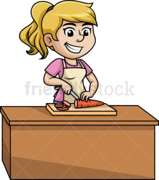 Woman chopping carrot. PNG - JPG and vector EPS (infinitely scalable).