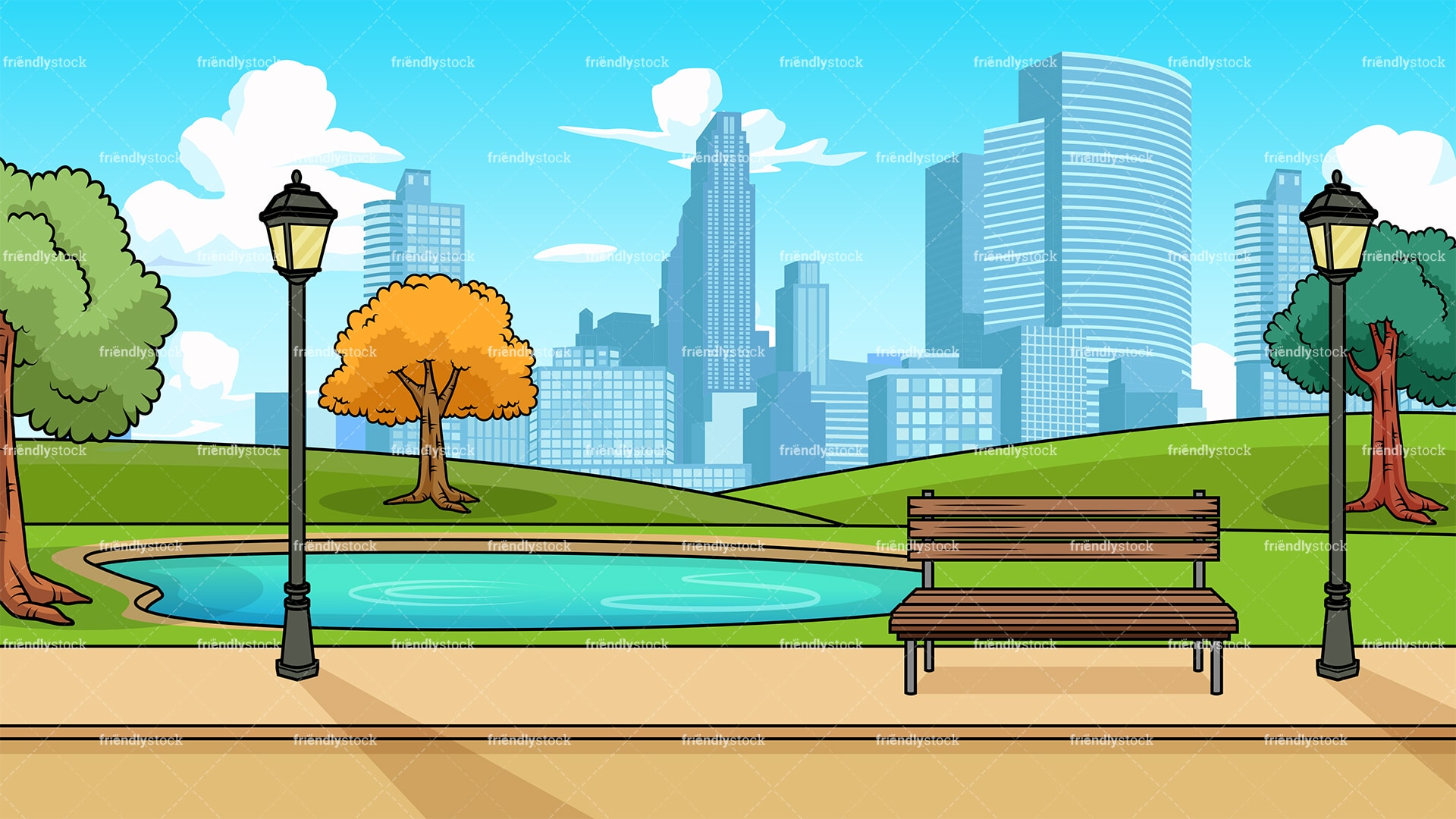 Modern City Park Background Cartoon Clipart Vector ...