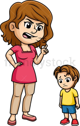 Mom scolding her child. PNG - JPG and vector EPS (infinitely scalable). Image isolated on transparent background.