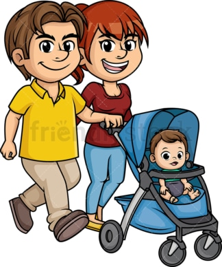Parents with baby stroller. PNG - JPG and vector EPS (infinitely scalable). Image isolated on transparent background.