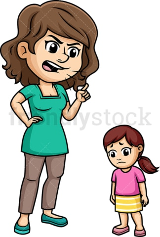Mom yelling at her daughter. PNG - JPG and vector EPS (infinitely scalable). Image isolated on transparent background.