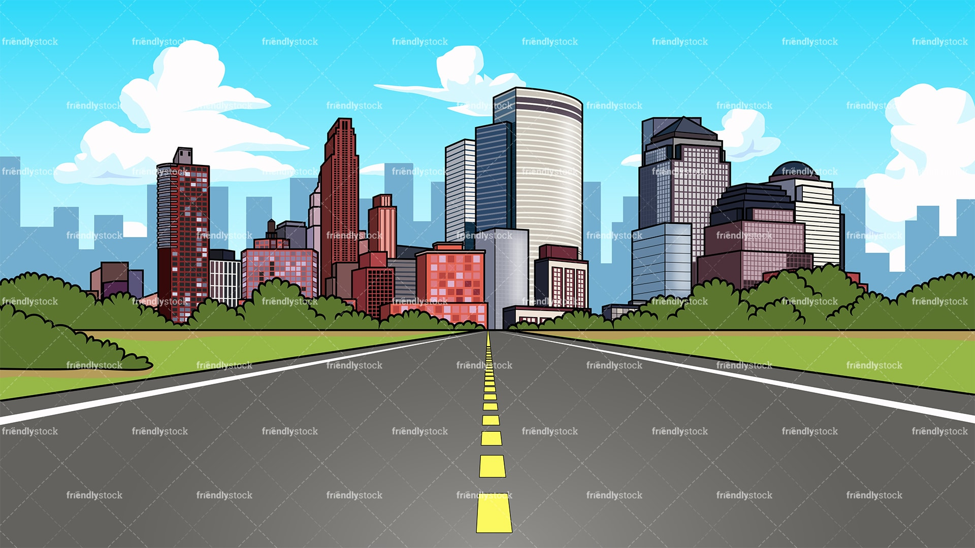 City Highway Background Cartoon Clipart Vector - FriendlyStock