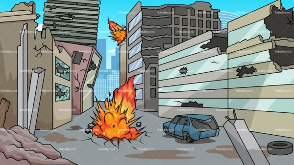 Destroyed city background in 16:9 aspect ratio. PNG - JPG and vector EPS file formats (infinitely scalable).