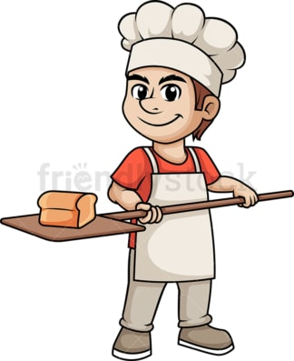 Bakery man baking bread. PNG - JPG and vector EPS (infinitely scalable). Image isolated on transparent background.