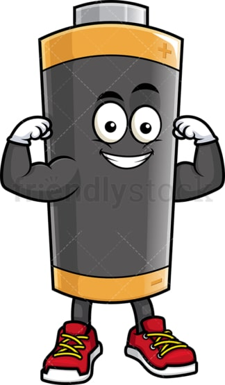 Battery mascot flexing muscles. PNG - JPG and vector EPS (infinitely scalable).