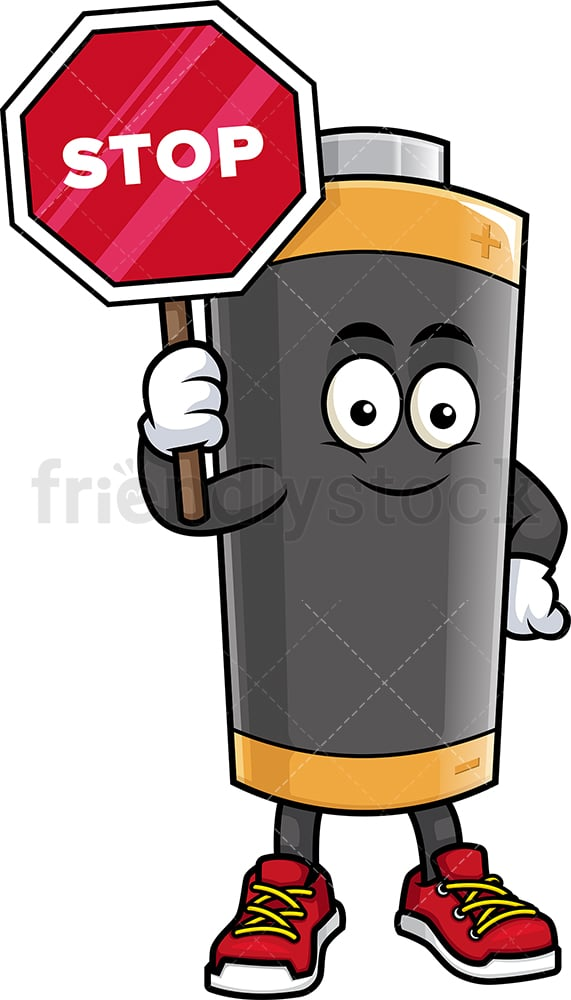 Battery mascot holding stop sign. PNG - JPG and vector EPS (infinitely scalable).
