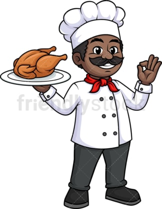 Black male chef holding chicken. PNG - JPG and vector EPS (infinitely scalable).