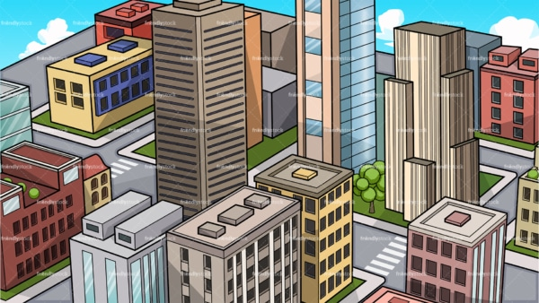 Cityscape background in 16:9 aspect ratio. PNG - JPG and vector EPS file formats (infinitely scalable).