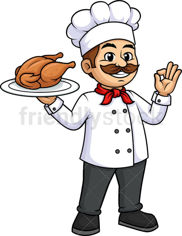 Male chef holding chicken. PNG - JPG and vector EPS (infinitely scalable).