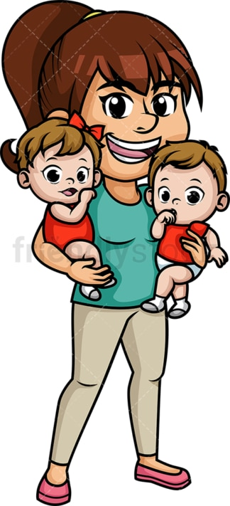 Mom holding twins. PNG - JPG and vector EPS (infinitely scalable). Image isolated on transparent background.