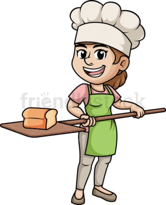 Woman baking bread. PNG - JPG and vector EPS (infinitely scalable). Image isolated on transparent background.