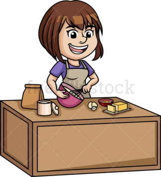 Woman making a cake. PNG - JPG and vector EPS (infinitely scalable).
