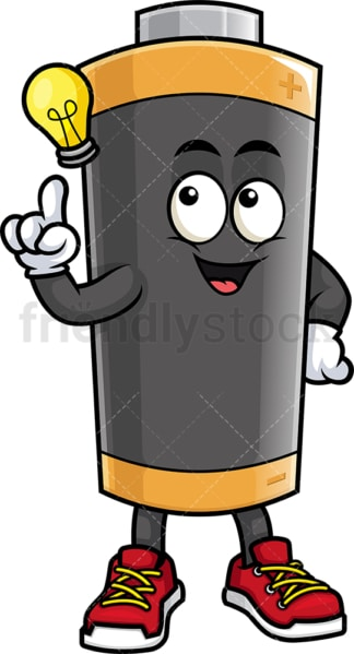 Battery mascot having an idea. PNG - JPG and vector EPS (infinitely scalable).