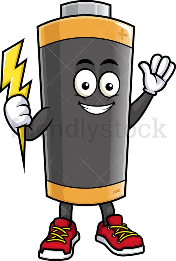 Battery mascot holding lightning bolt. PNG - JPG and vector EPS (infinitely scalable).