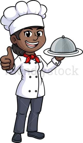 Black female chef thumbs up. PNG - JPG and vector EPS (infinitely scalable).