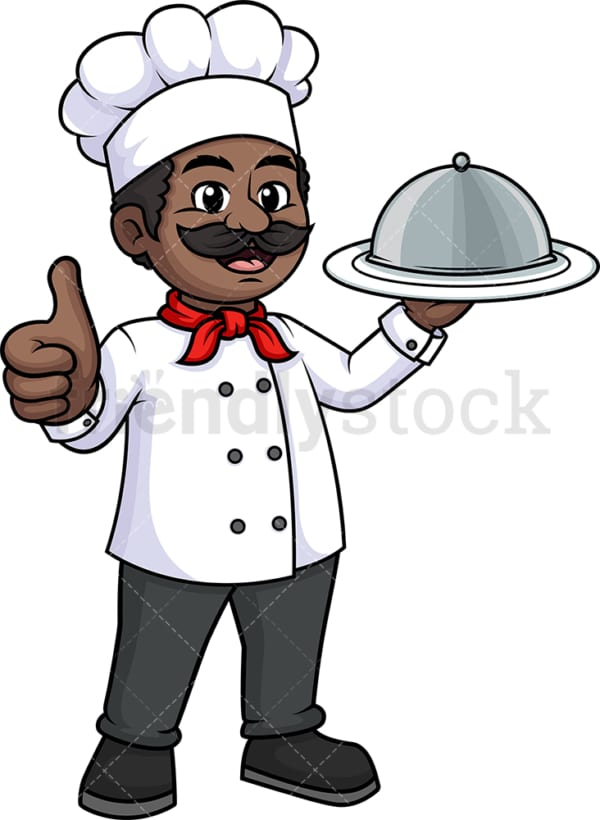 Black male chef thumbs up. PNG - JPG and vector EPS (infinitely scalable).