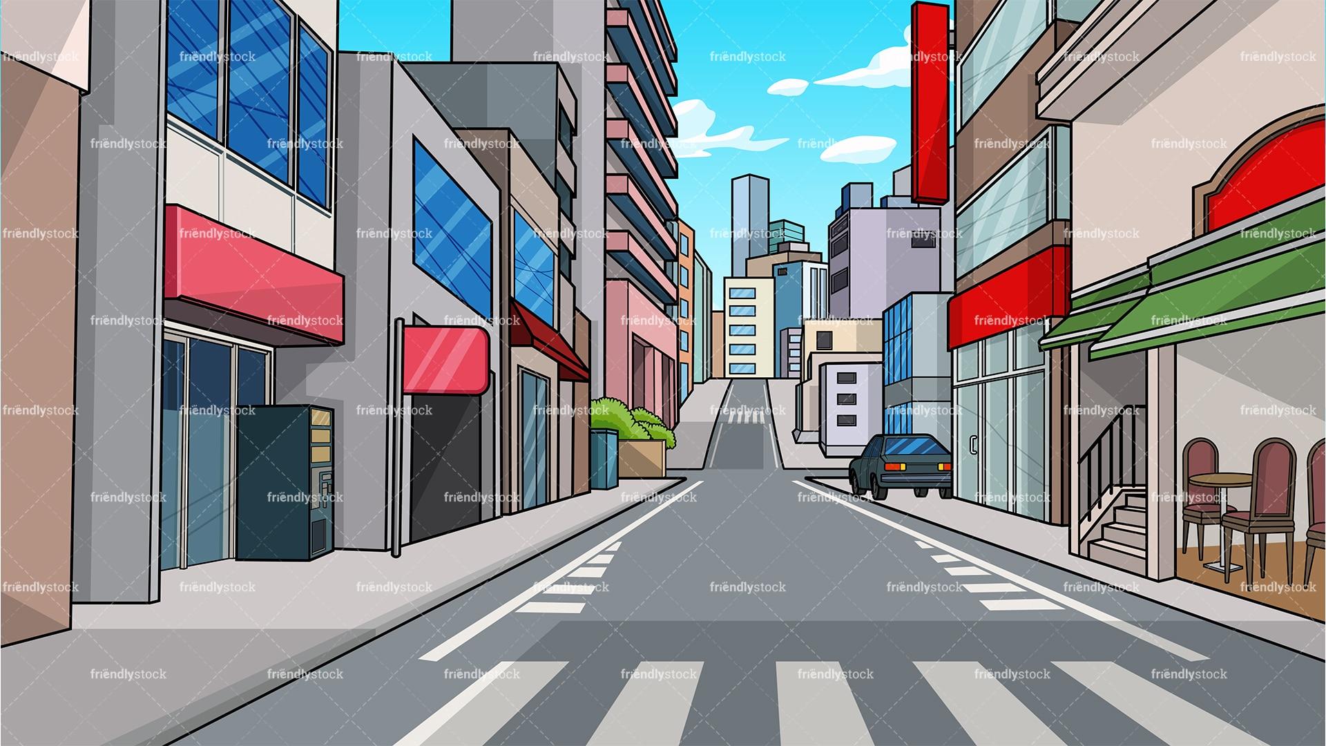 City Street Background Cartoon Clipart Vector - FriendlyStock