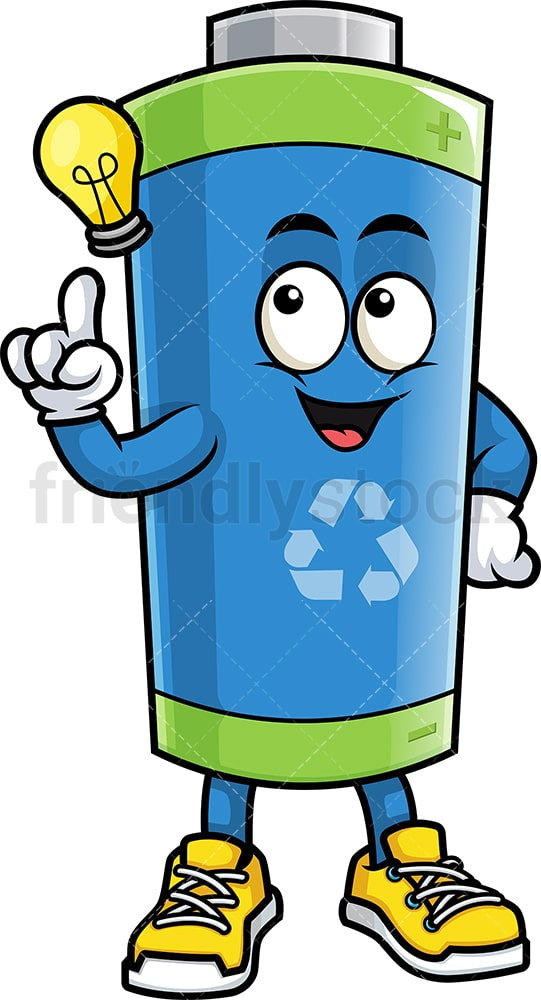 Green ecological battery having an idea. PNG - JPG and vector EPS (infinitely scalable).