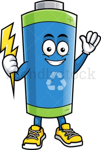 Ecological battery holding energy bolt. PNG - JPG and vector EPS (infinitely scalable).