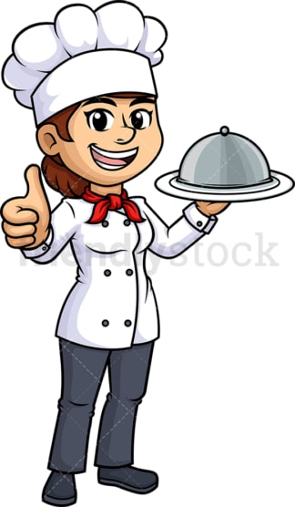 Female chef thumbs up. PNG - JPG and vector EPS (infinitely scalable).