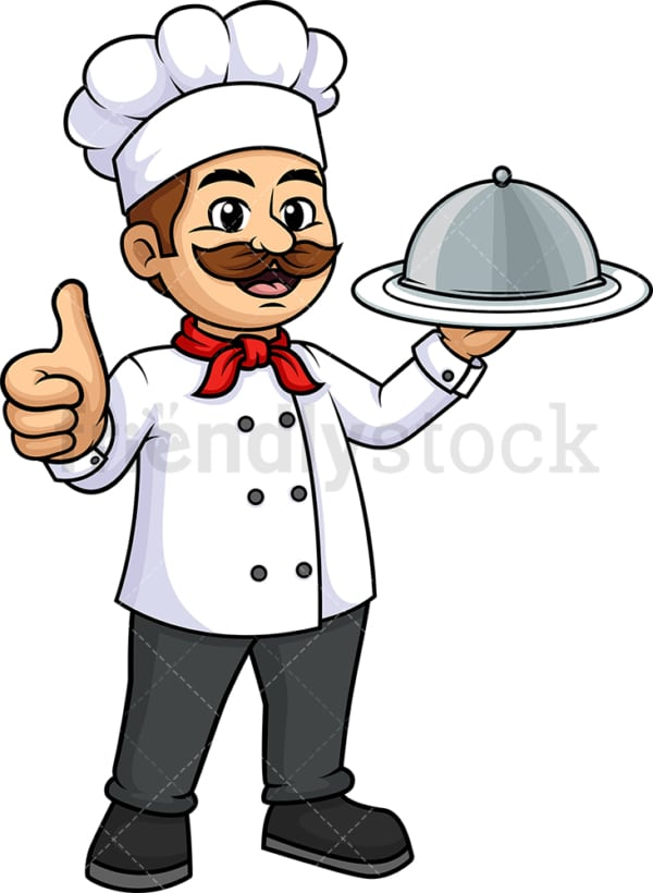 Male chef thumbs up. PNG - JPG and vector EPS (infinitely scalable).