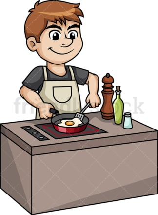 Man frying an egg. PNG - JPG and vector EPS (infinitely scalable).