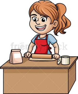 Woman flattening pizza dough. PNG - JPG and vector EPS (infinitely scalable). Image isolated on transparent background.