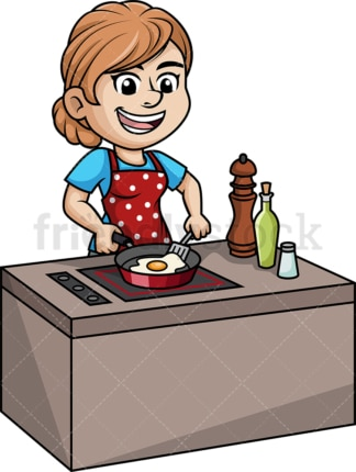 Woman frying an egg. PNG - JPG and vector EPS (infinitely scalable).