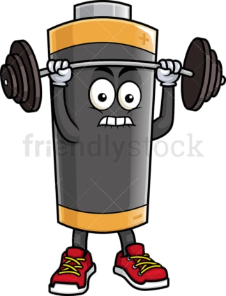Battery mascot lifting weights. PNG - JPG and vector EPS (infinitely scalable).