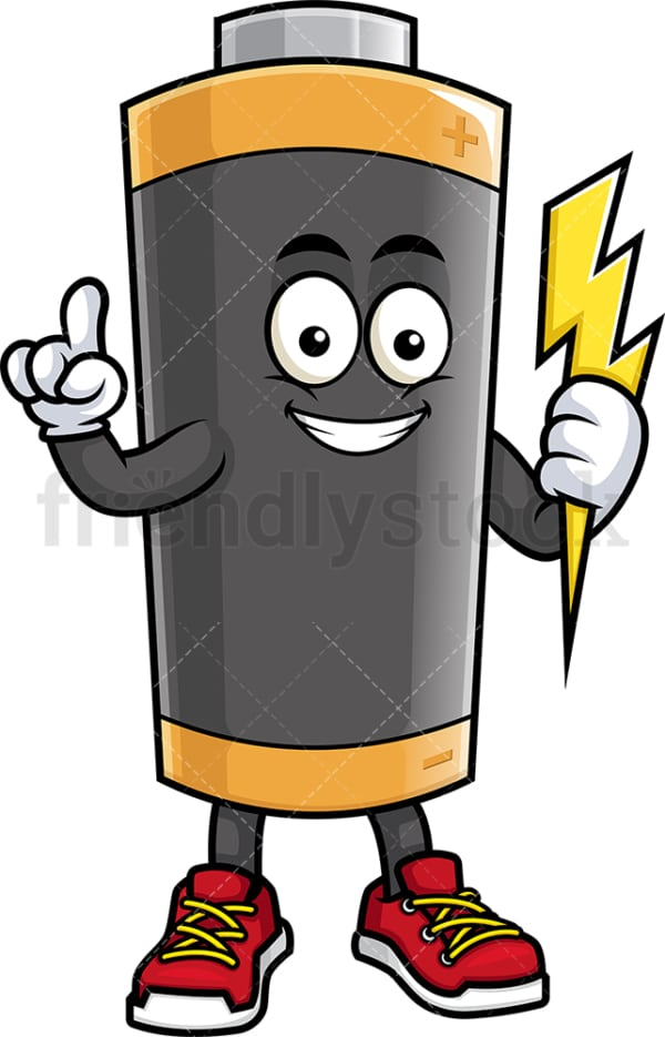 Battery mascot pointing up. PNG - JPG and vector EPS (infinitely scalable).