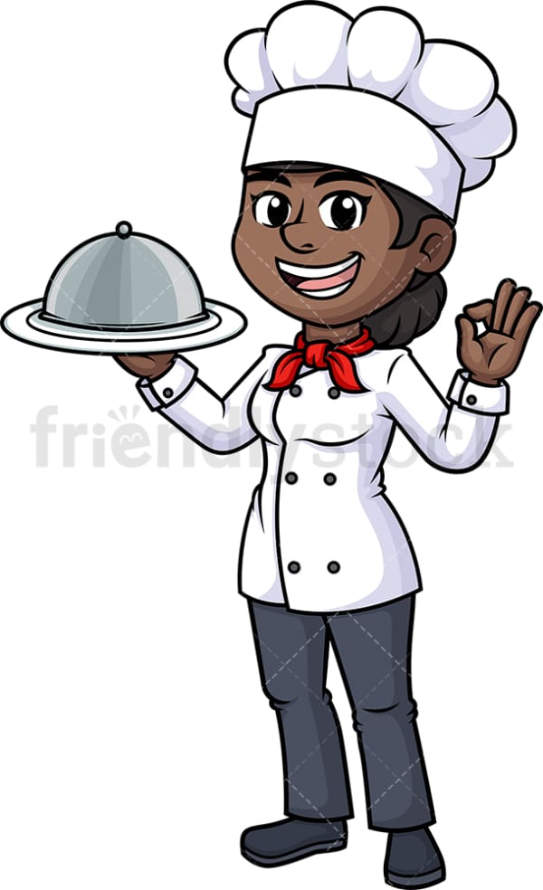 Black female chef holding serving tray. PNG - JPG and vector EPS (infinitely scalable).