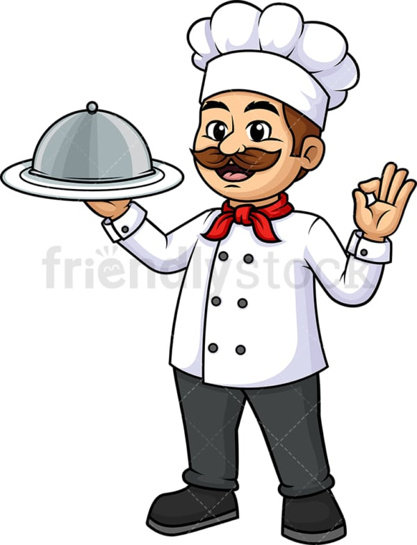 Chef holding plate cloche dome tray. PNG - JPG and vector EPS (infinitely scalable).