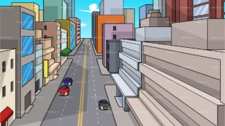 Downtown city street background in 16:9 aspect ratio. PNG - JPG and vector EPS file formats (infinitely scalable).