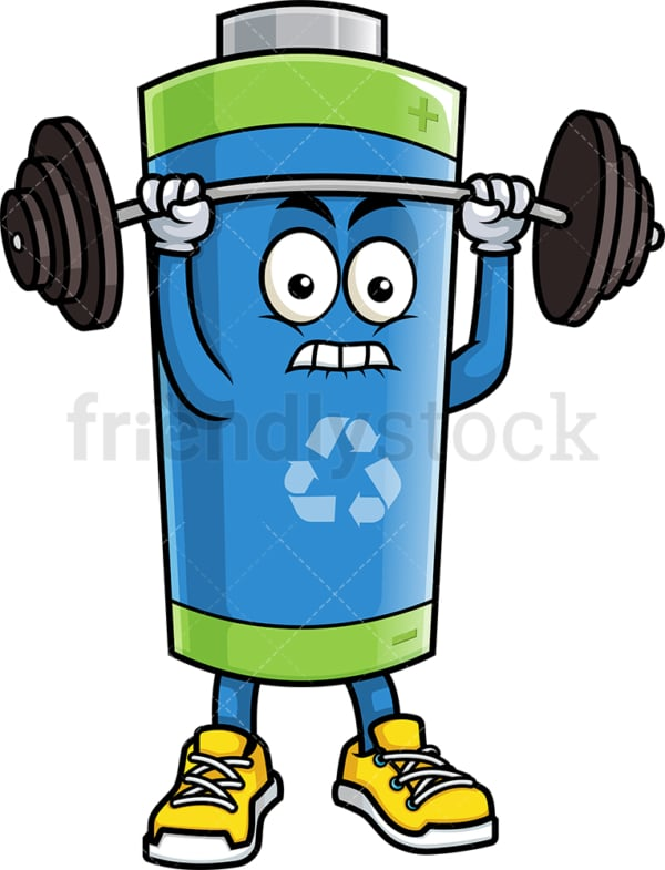 Green ecological battery lifting barbell. PNG - JPG and vector EPS (infinitely scalable).