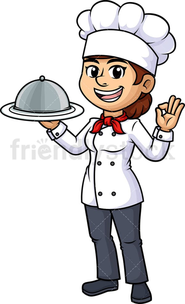 Female chef holding serving tray. PNG - JPG and vector EPS (infinitely scalable).