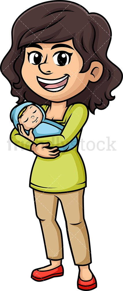 Mother With Newborn Baby Cartoon Vector Clipart ...