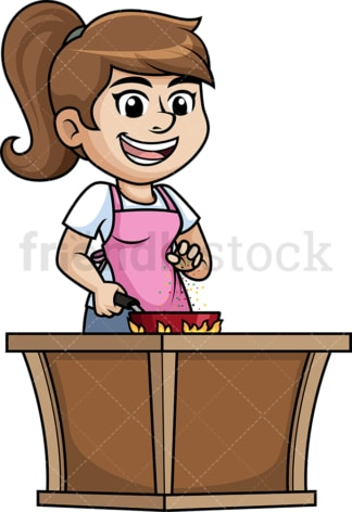 Woman salting food. PNG - JPG and vector EPS (infinitely scalable).