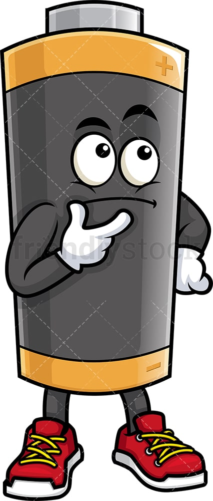 Battery mascot thinking. PNG - JPG and vector EPS (infinitely scalable).