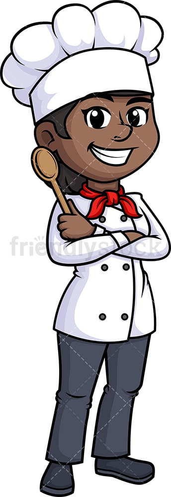 Black female chef holding platter. PNG - JPG and vector EPS (infinitely scalable).