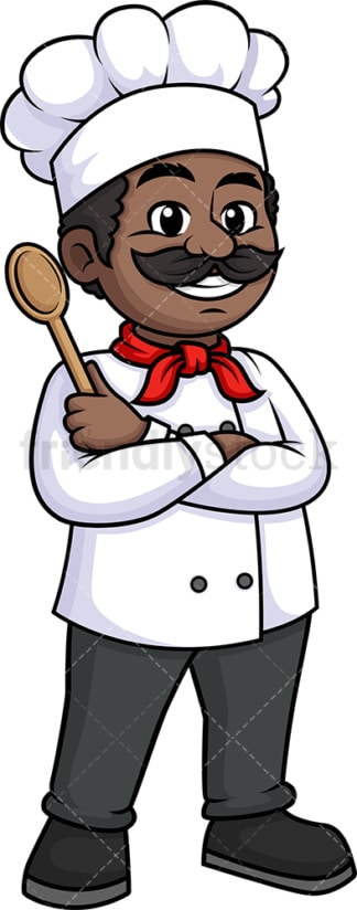 Black male chef holding platter. PNG - JPG and vector EPS (infinitely scalable).