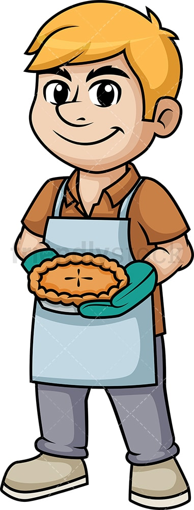 Man holding baked apple pie. PNG - JPG and vector EPS (infinitely scalable). Image isolated on transparent background.