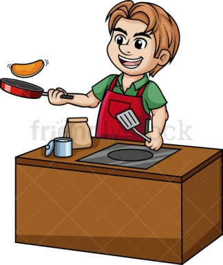 Man making pancakes. PNG - JPG and vector EPS (infinitely scalable).