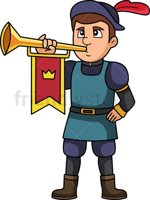 Medieval royal herald with trumpet. PNG - JPG and vector EPS (infinitely scalable).