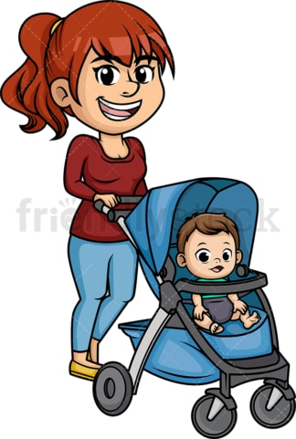 Mom pushing stroller. PNG - JPG and vector EPS (infinitely scalable). Image isolated on transparent background.