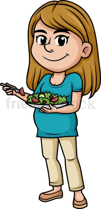 Pregnant woman eating healthy salad. PNG - JPG and vector EPS (infinitely scalable).