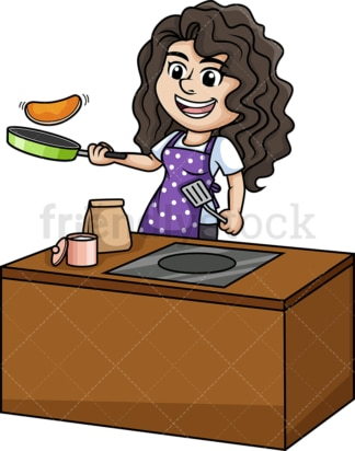 Woman making pancakes. PNG - JPG and vector EPS (infinitely scalable).