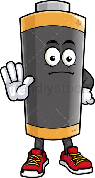 Battery mascot attention. PNG - JPG and vector EPS (infinitely scalable).